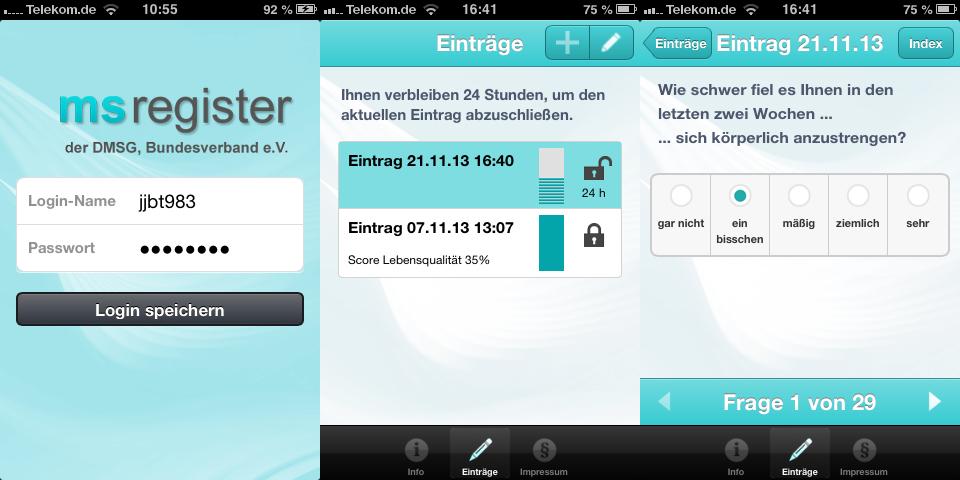 App für Patient-Reported-Outcome   MS-Studien-App
